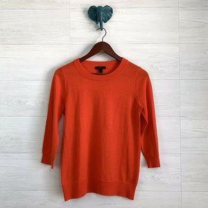 J Crew  100% Merino Wool Orange Tippi Sweater
